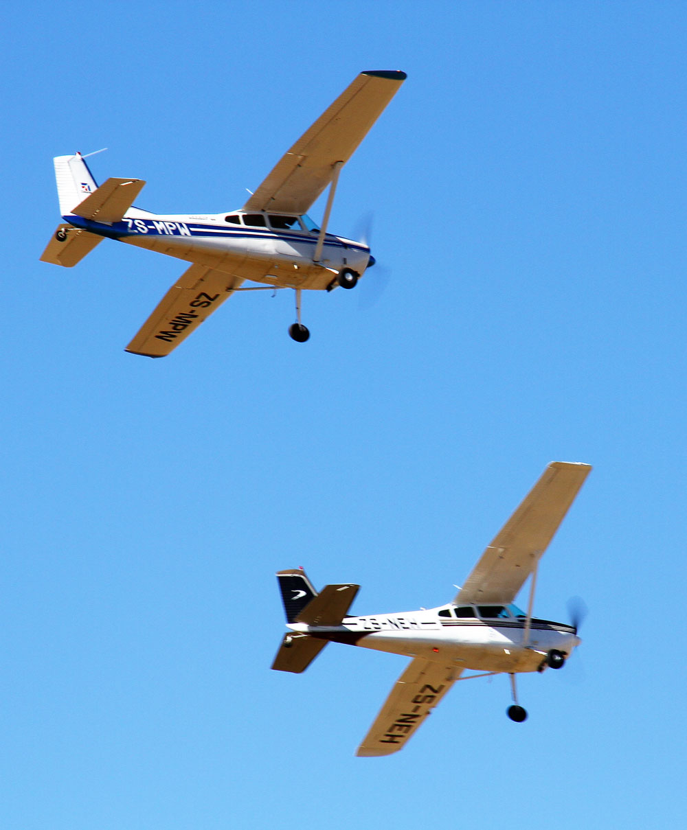 Two Cessna 180s flying in formation at Brakpan