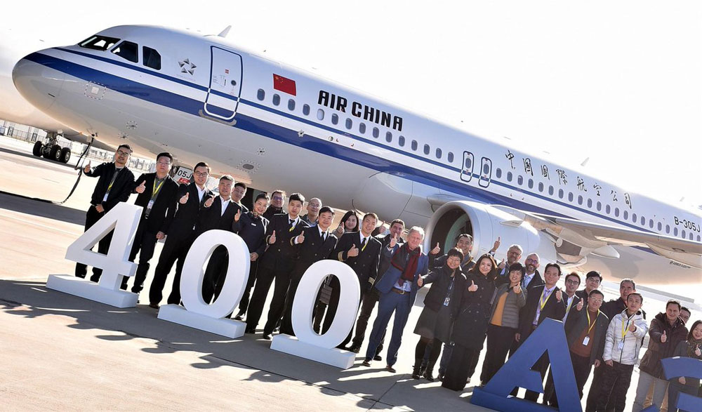400th A320 assembled in China
