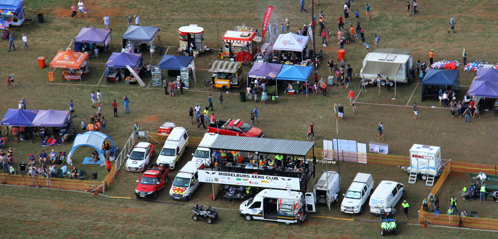 Well structured organiser's stand with emergency vehicles