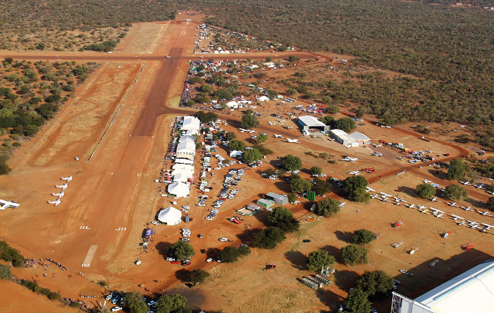 Aerial view of the airfield