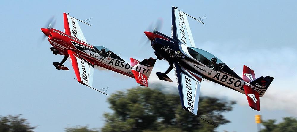 Nigel Hopkins and Jason Beamish Extra 330SC flypast