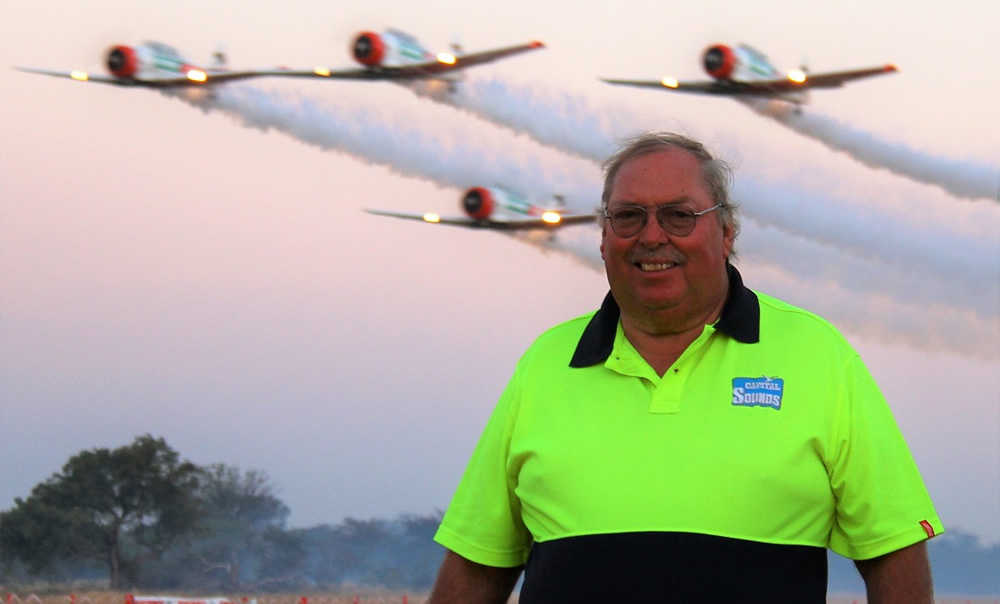 Brian Emmenis with the Flying Lions at sunset