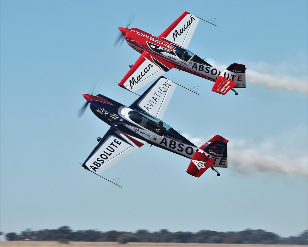 Nigel Hopkins and Jason Beamish high angle fly-by