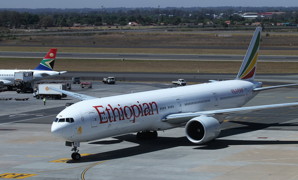 Ethiopian Airlines arrives at OR Tambo International Airport