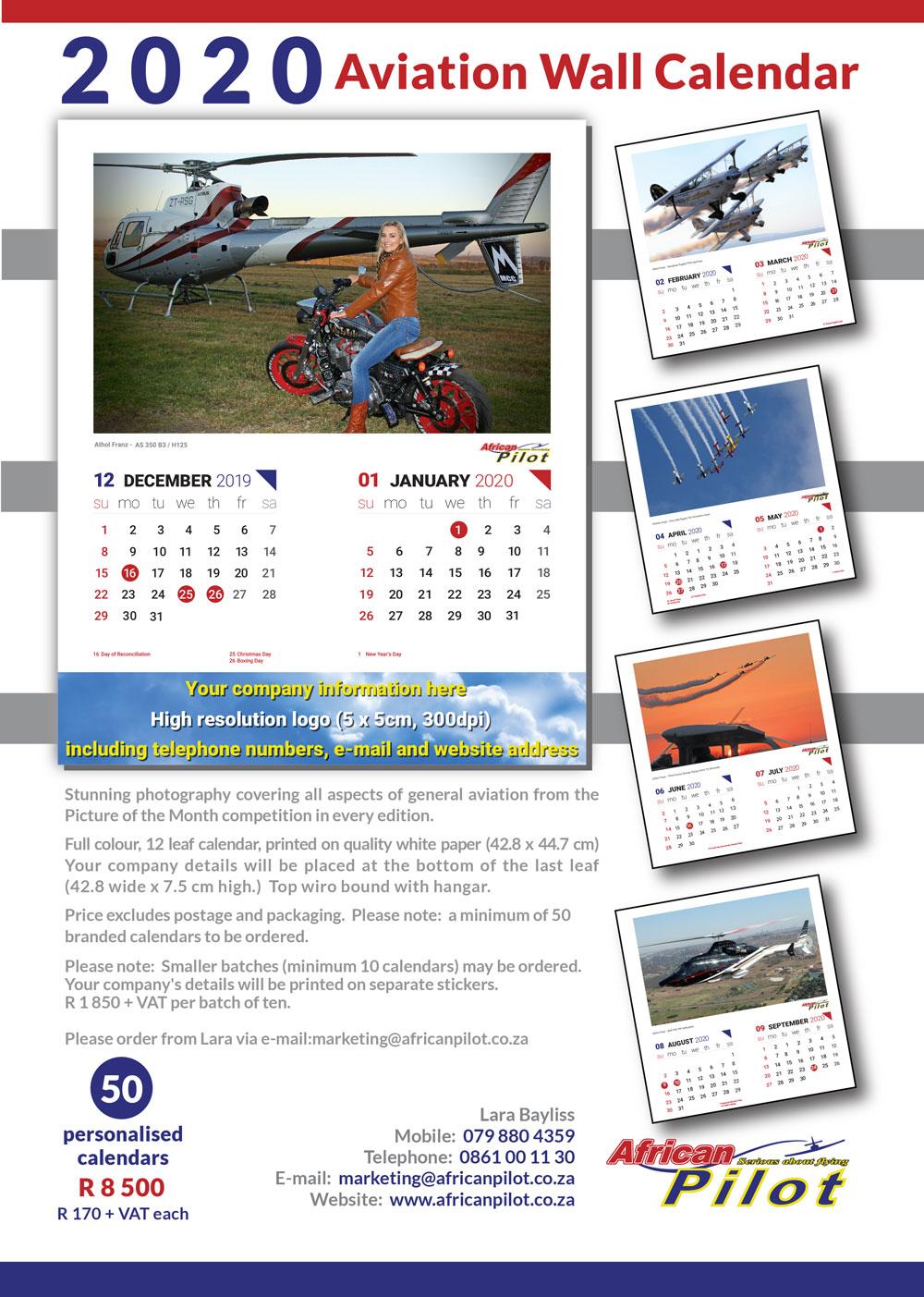 African Pilot Executive Wall Calendar 2020