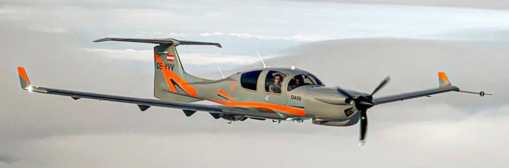 Diamond Aircraft DA50 first flight with retractable gear