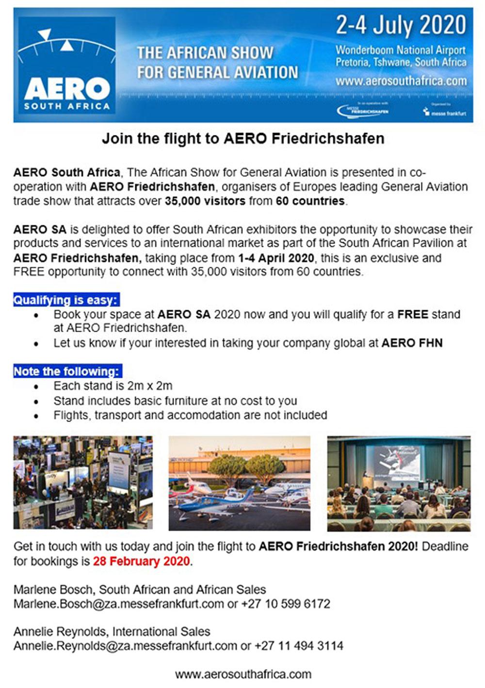 AERO Friedrichshafen 2020 offer