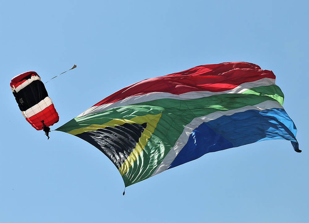 Jumping the BIG South African flag