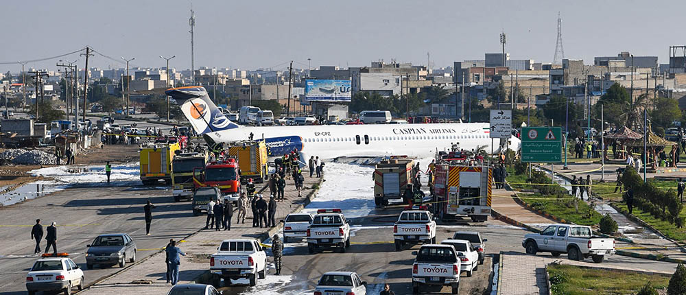 Caspian Airlines MD-83 skids off runway