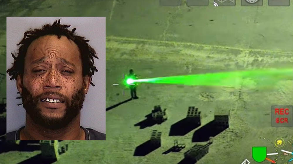 Man arrested for pointing a laser at a police aircraft