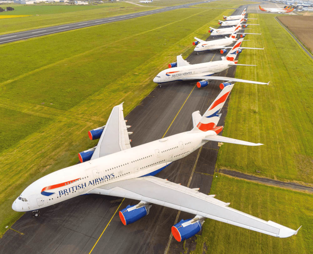 BA A380s parked in France