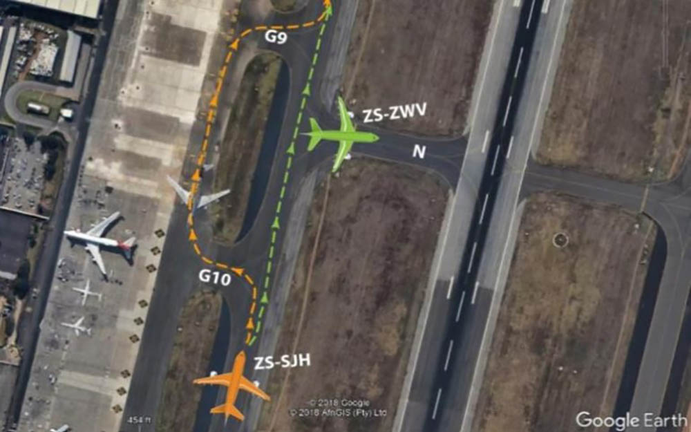 Pilots of the Mango jet (ZS-SJH) opted against a deviation to pass Comair's ZS-ZWV