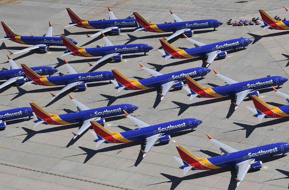 Southwest Airlines 737 MAX planes parked