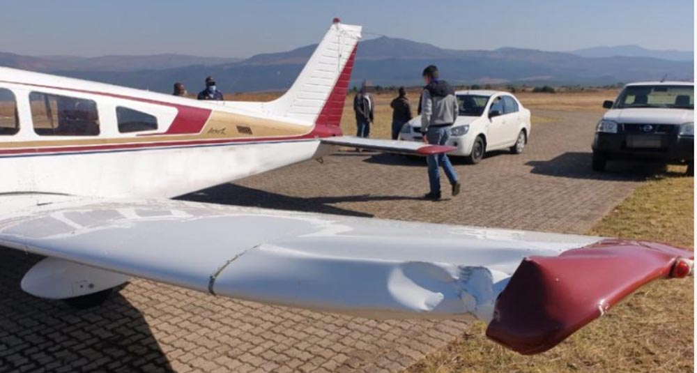 Damage to the Piper wing
