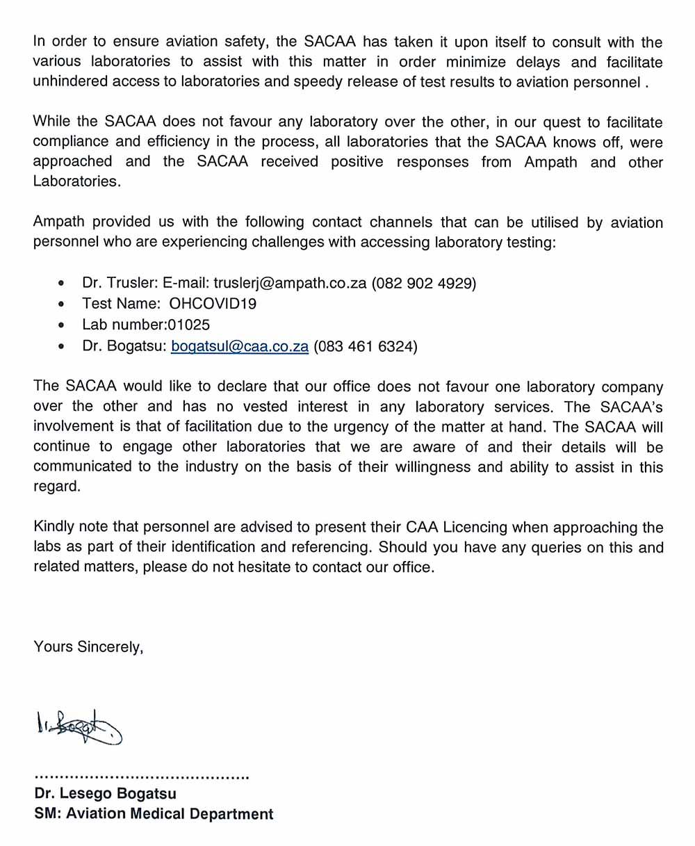 SACAA Medical requirements 2
