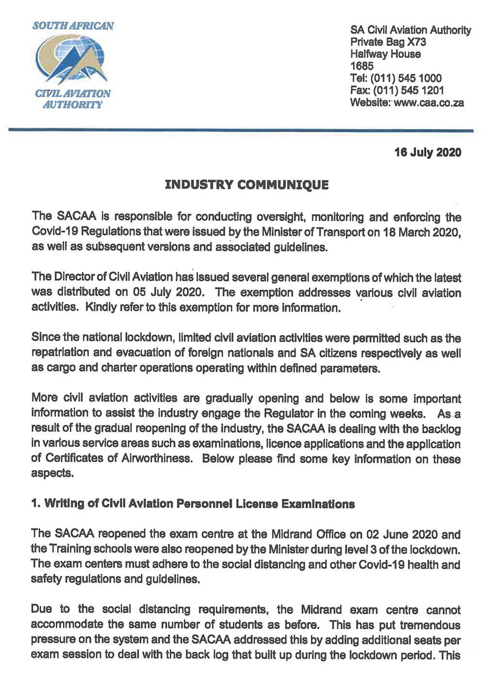 SACAA Industry communique 16 July 2020 1