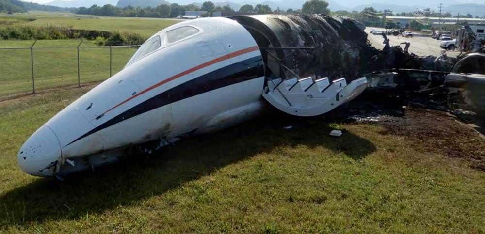 Plane carrying Dale Earnhardt Jr. on fire
