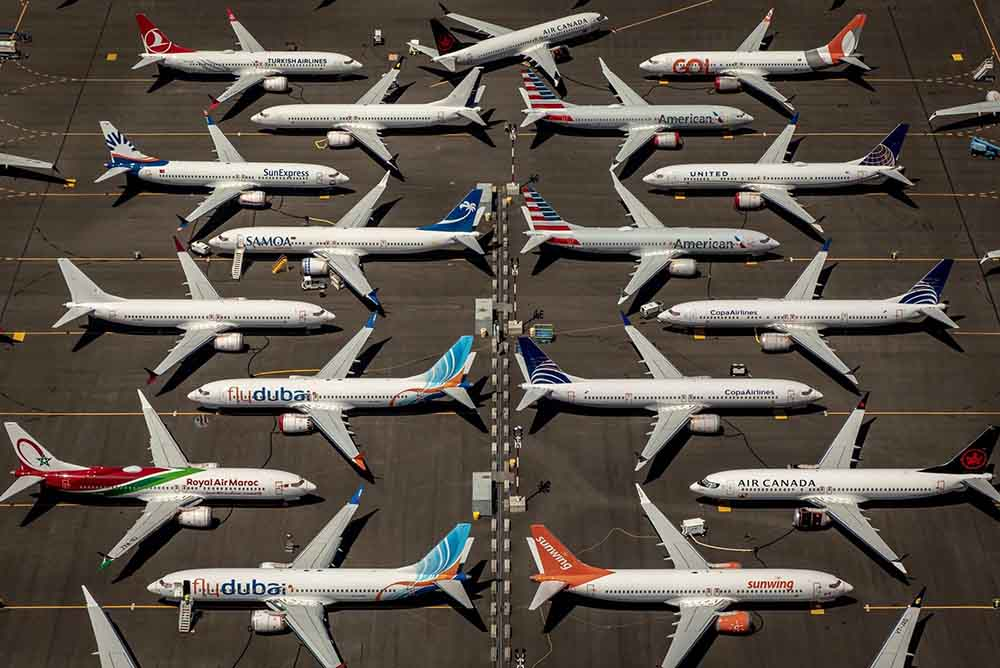 Boeing 737 MAX airliners parked